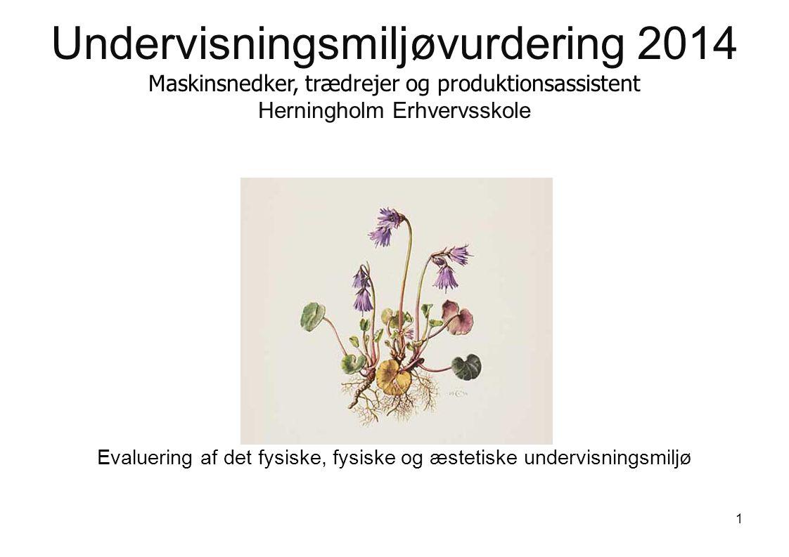Undervisningsmiljøvurdering 2014 Maskinsnedker, trædrejer og produktionsassistent Herningholm Erhvervsskole Evaluering af det fysiske, fysiske og æstetiske undervisningsmiljø 1