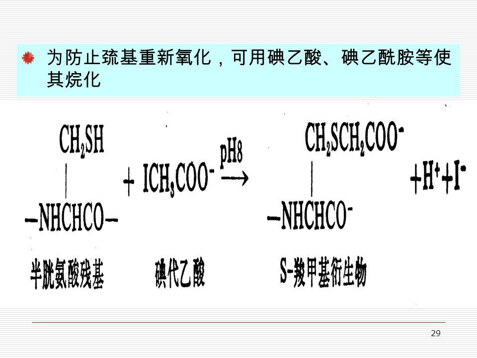 29 为防止巯基重新氧化,可用碘乙酸、碘乙酰胺等使 其烷化