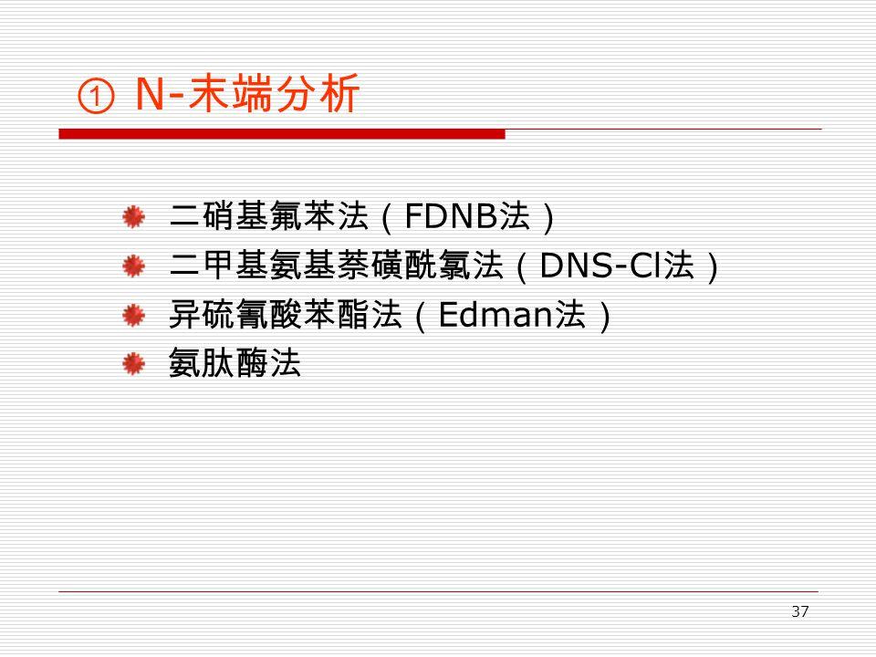 37 ① N- 末端分析 二硝基氟苯法( FDNB 法) 二甲基氨基萘磺酰氯法( DNS-Cl 法) 异硫氰酸苯酯法( Edman 法) 氨肽酶法