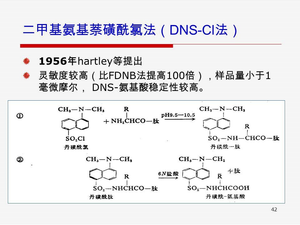 42 二甲基氨基萘磺酰氯法( DNS-Cl 法) 1956 年 hartley 等提出 灵敏度较高(比 FDNB 法提高 100 倍),样品量小于 1 毫微摩尔, DNS- 氨基酸稳定性较高。