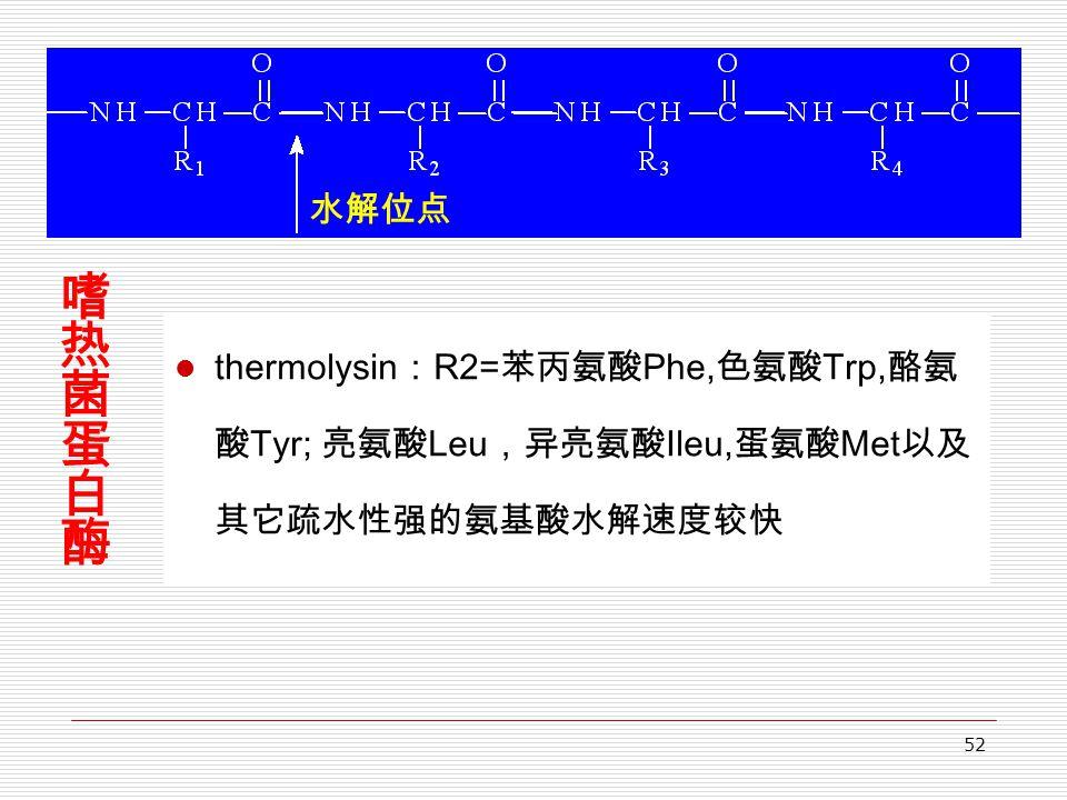 52 thermolysin : R2= 苯丙氨酸 Phe, 色氨酸 Trp, 酪氨 酸 Tyr; 亮氨酸 Leu ,异亮氨酸 Ileu, 蛋氨酸 Met 以及 其它疏水性强的氨基酸水解速度较快 水解位点