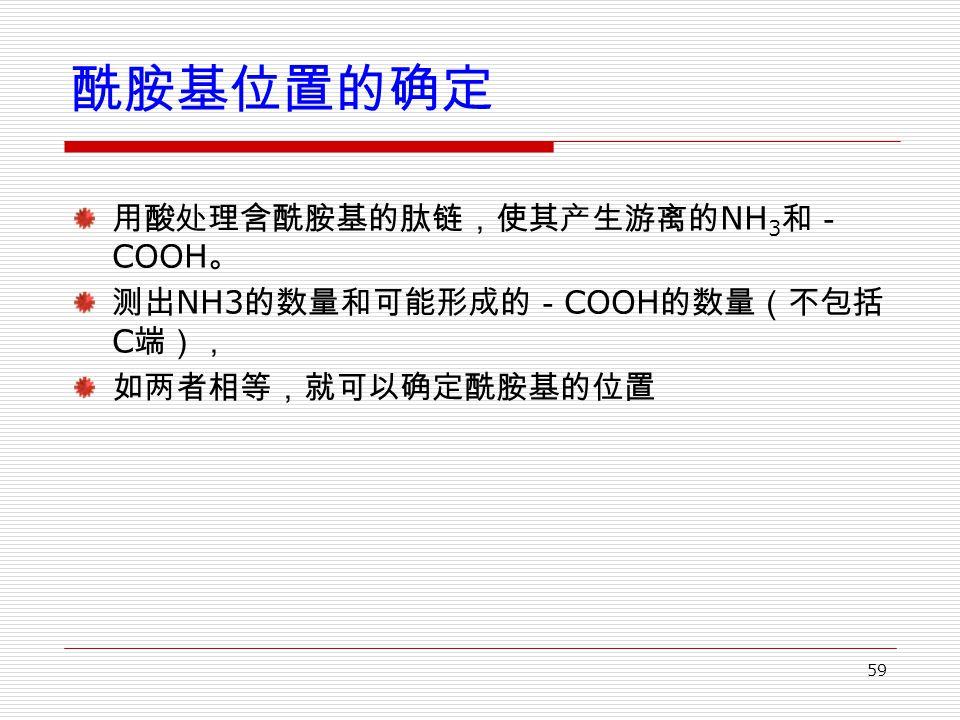 59 酰胺基位置的确定 用酸处理含酰胺基的肽链,使其产生游离的 NH 3 和- COOH 。 测出 NH3 的数量和可能形成的- COOH 的数量(不包括 C 端), 如两者相等,就可以确定酰胺基的位置