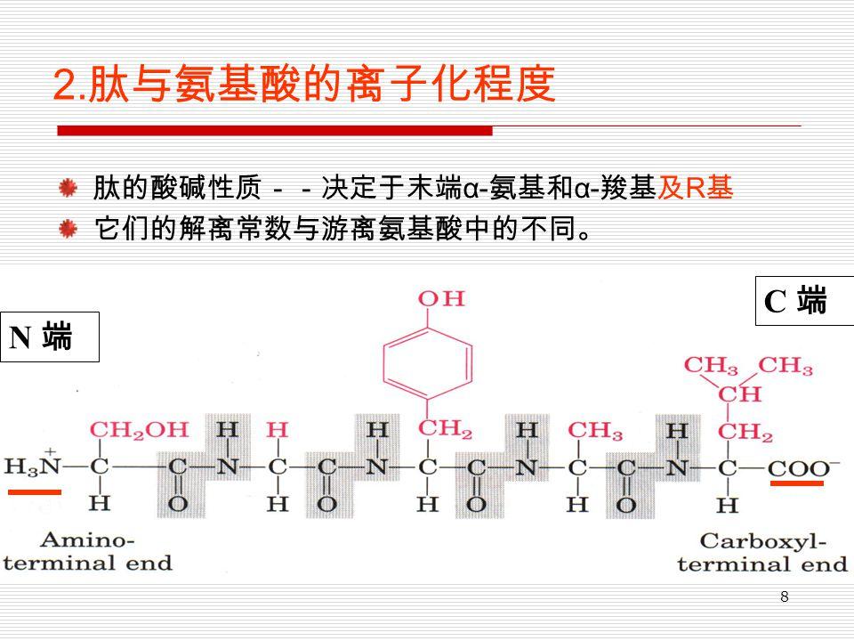 8 2. 肽与氨基酸的离子化程度 肽的酸碱性质--决定于末端 α- 氨基和 α- 羧基及 R 基 它们的解离常数与游离氨基酸中的不同。 N 端 C 端
