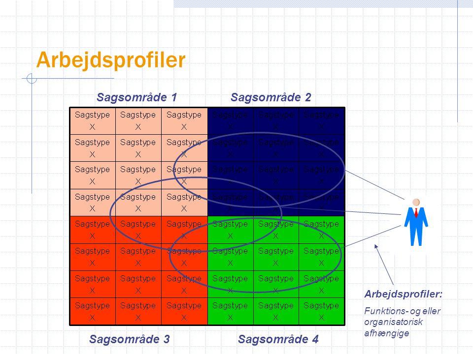 Sagsområde 3Sagsområde 4 Sagsområde 2Sagsområde 1 Arbejdsprofiler: Funktions- og eller organisatorisk afhængige Arbejdsprofiler