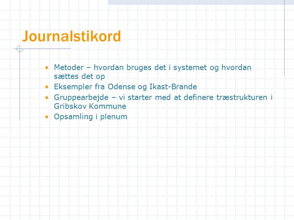 Journalstikord Metoder – hvordan bruges det i systemet og hvordan sættes det op Eksempler fra Odense og Ikast-Brande Gruppearbejde – vi starter med at definere træstrukturen i Gribskov Kommune Opsamling i plenum