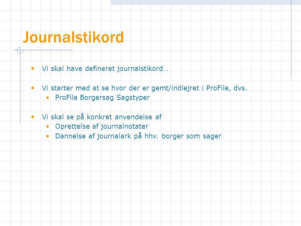 Journalstikord Vi skal have defineret journalstikord… Vi starter med at se hvor der er gemt/indlejret i ProFile, dvs.