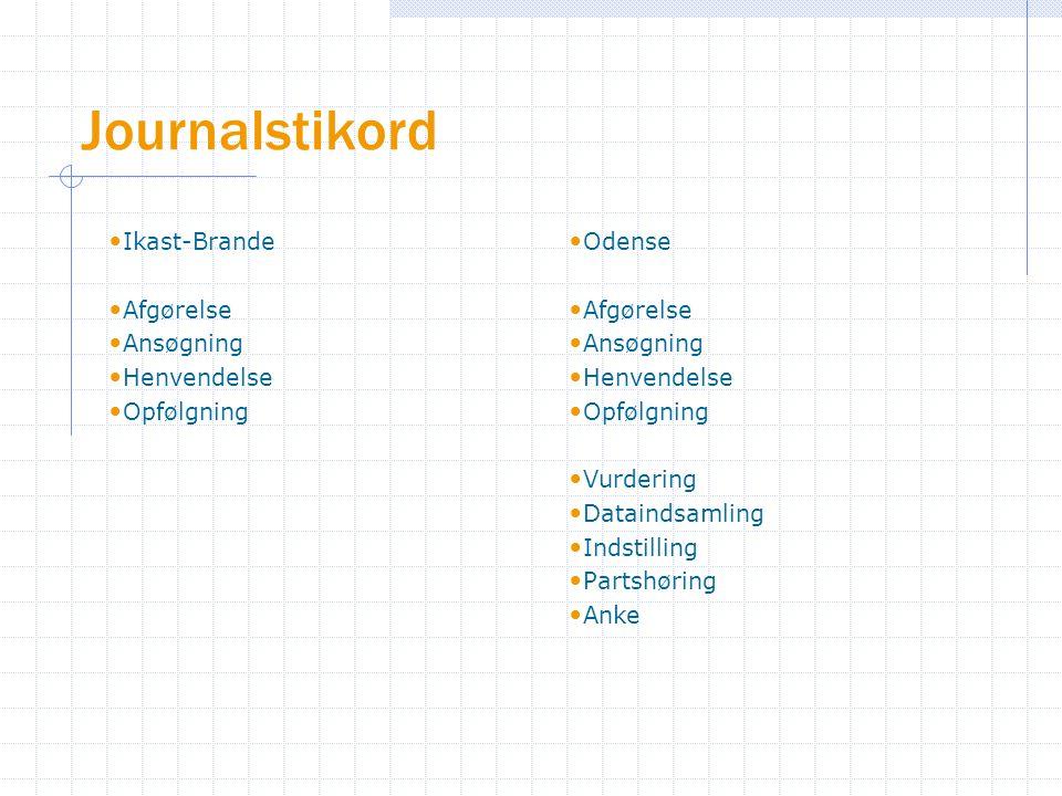 Journalstikord Ikast-Brande Afgørelse Ansøgning Henvendelse Opfølgning Odense Afgørelse Ansøgning Henvendelse Opfølgning Vurdering Dataindsamling Indstilling Partshøring Anke
