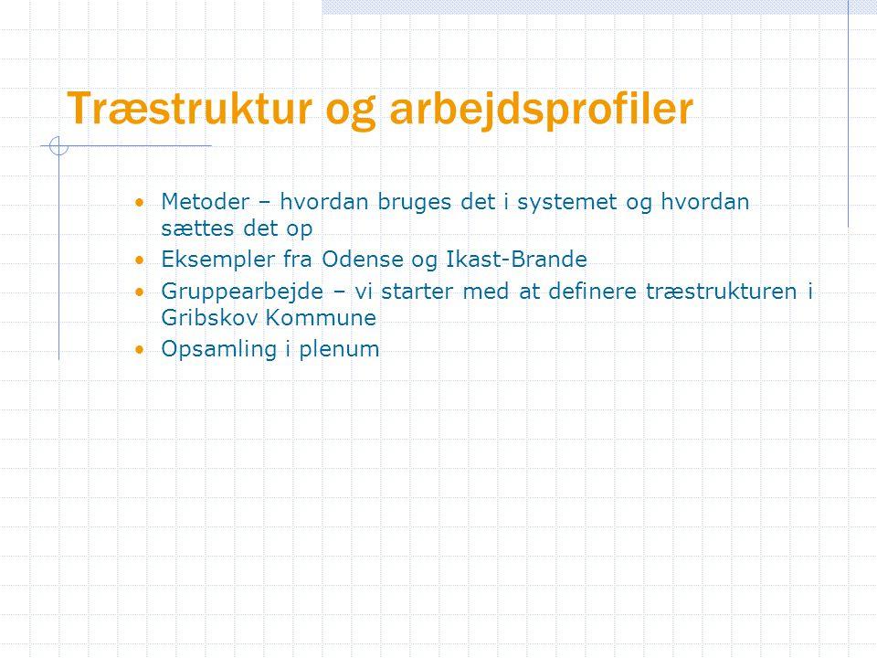 Træstruktur og arbejdsprofiler Metoder – hvordan bruges det i systemet og hvordan sættes det op Eksempler fra Odense og Ikast-Brande Gruppearbejde – vi starter med at definere træstrukturen i Gribskov Kommune Opsamling i plenum