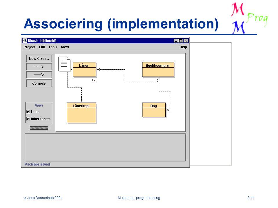  Jens Bennedsen 2001Multimedie programmering8.11 Associering (implementation)