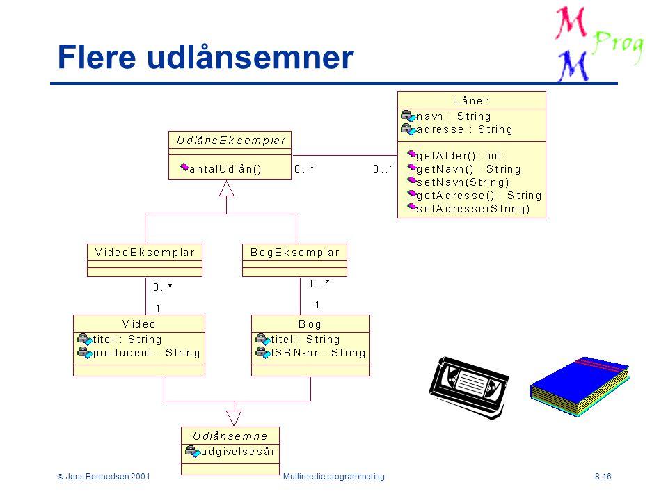 Jens Bennedsen 2001Multimedie programmering8.16 Flere udlånsemner
