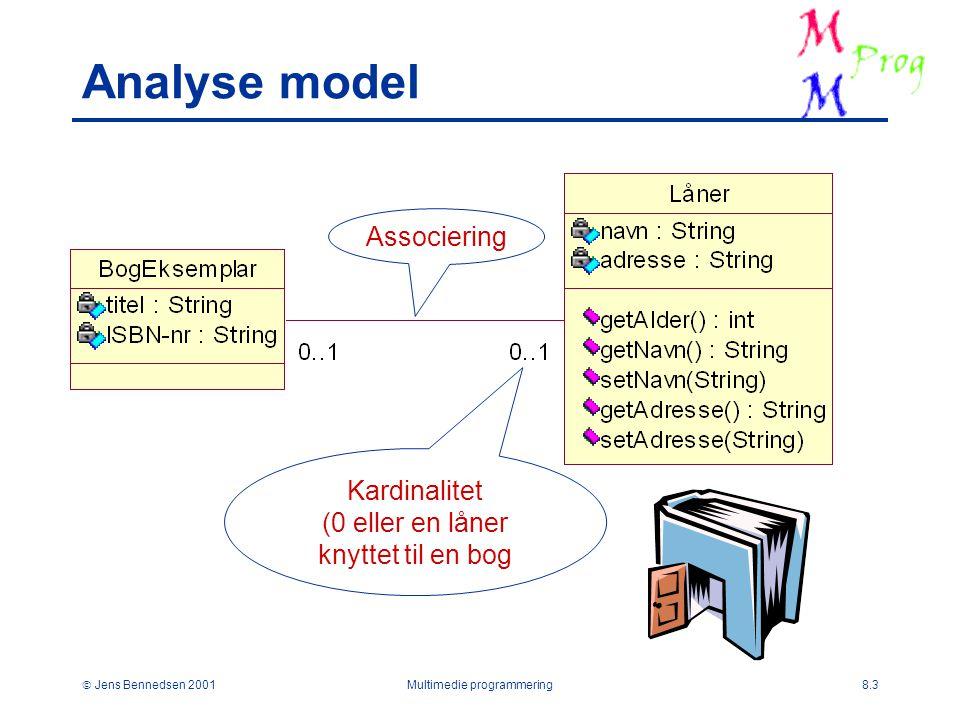  Jens Bennedsen 2001Multimedie programmering8.3 Analyse model Kardinalitet (0 eller en låner knyttet til en bog Associering