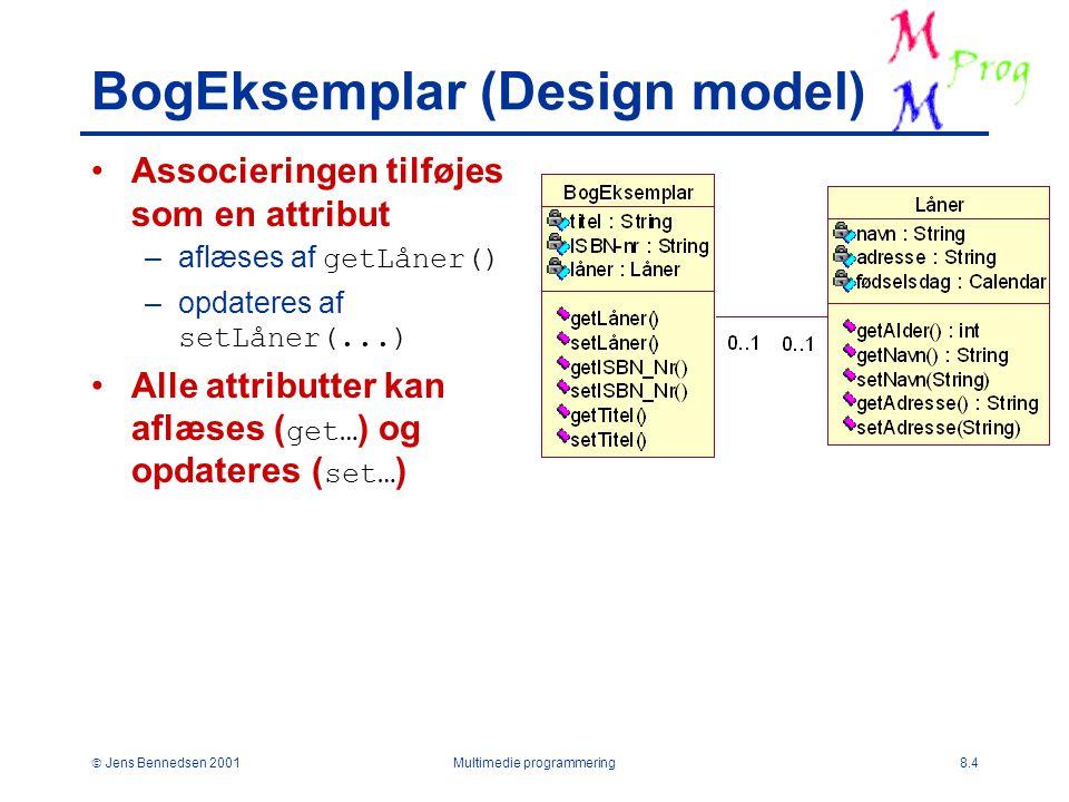  Jens Bennedsen 2001Multimedie programmering8.4 BogEksemplar (Design model) Associeringen tilføjes som en attribut –aflæses af getLåner() –opdateres af setLåner(...) Alle attributter kan aflæses ( get… ) og opdateres ( set… )