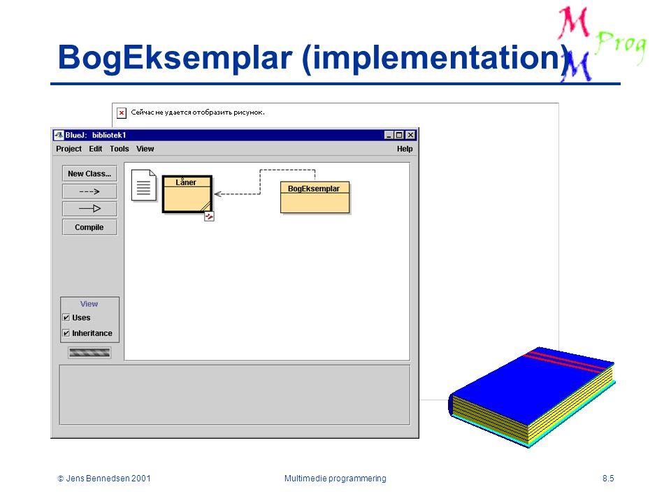  Jens Bennedsen 2001Multimedie programmering8.5 BogEksemplar (implementation)