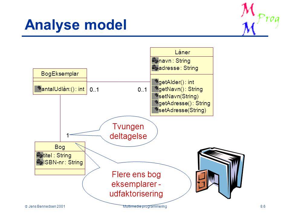  Jens Bennedsen 2001Multimedie programmering8.6 Analyse model Låner navn : String adresse : String getAlder() : int getNavn() : String setNavn(String) getAdresse() : String setAdresse(String) BogEksemplar antalUdlån:() : int 0..1 Bog titel : String ISBN-nr : String 11 Flere ens bog eksemplarer - udfaktorisering Tvungen deltagelse