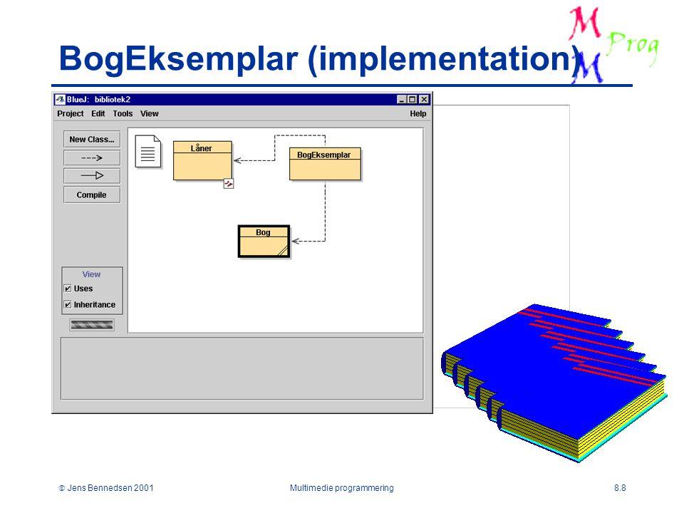  Jens Bennedsen 2001Multimedie programmering8.8 BogEksemplar (implementation)