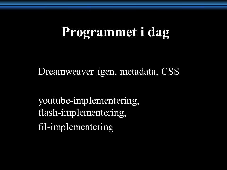 Programmet i dag Dreamweaver igen, metadata, CSS youtube-implementering, flash-implementering, fil-implementering