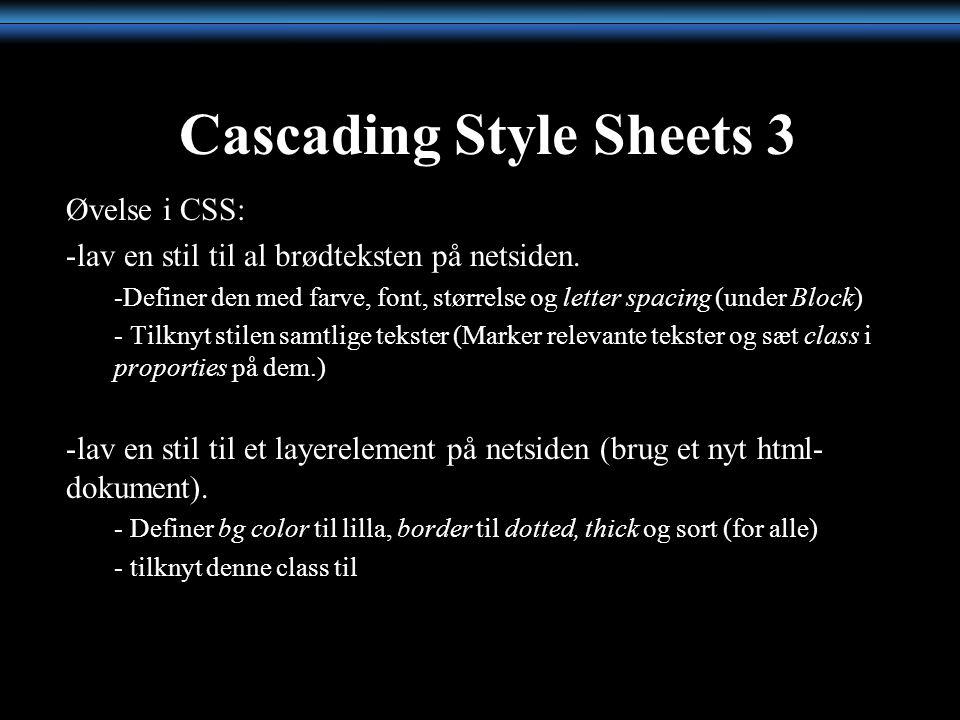 Cascading Style Sheets 3 Øvelse i CSS: -lav en stil til al brødteksten på netsiden.