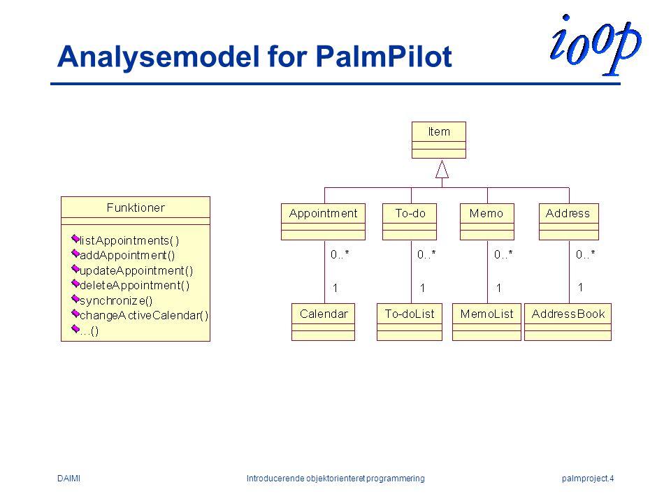 DAIMIIntroducerende objektorienteret programmeringpalmproject.4 Analysemodel for PalmPilot