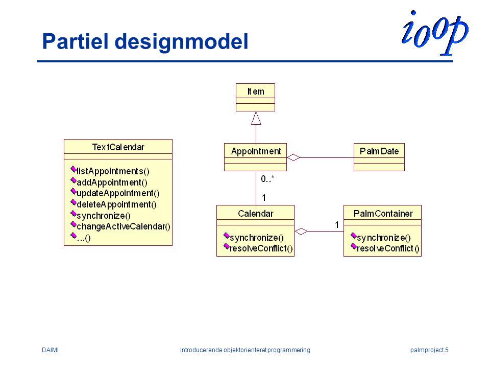 DAIMIIntroducerende objektorienteret programmeringpalmproject.5 Partiel designmodel