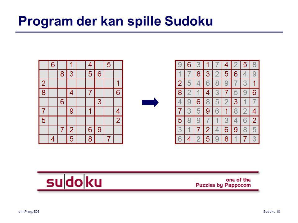 dIntProg, E08Sudoku.10 Program der kan spille Sudoku