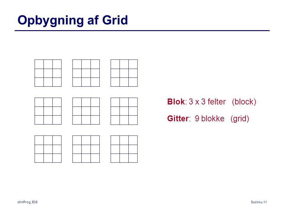 dIntProg, E08Sudoku.11 Opbygning af Grid Blok: 3 x 3 felter (block) Gitter: 9 blokke (grid)