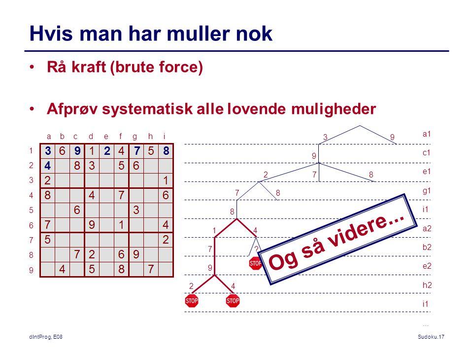 dIntProg, E08Sudoku.17 Hvis man har muller nok Rå kraft (brute force) Afprøv systematisk alle lovende muligheder a b c d e f g h i 123456789123456789 a1 c1 e1 g1 i1 a2 b2 e2 h2 i1...