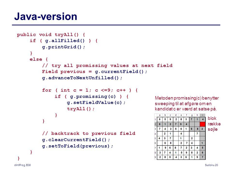 dIntProg, E08Sudoku.20 Java-version public void tryAll() { if ( g.allFilled() ) { g.printGrid(); } else { // try all promissing values at next field Field previous = g.currentField(); g.advanceToNextUnfilled(); for ( int c = 1; c <=9; c++ ) { if ( g.promissing(c) ) { g.setFieldValue(c); tryAll(); } // backtrack to previous field g.clearCurrentField(); g.setToField(previous); } Metoden promissing(c) benytter sweeping til at afgøre om en kandidat c er værd at satse på.