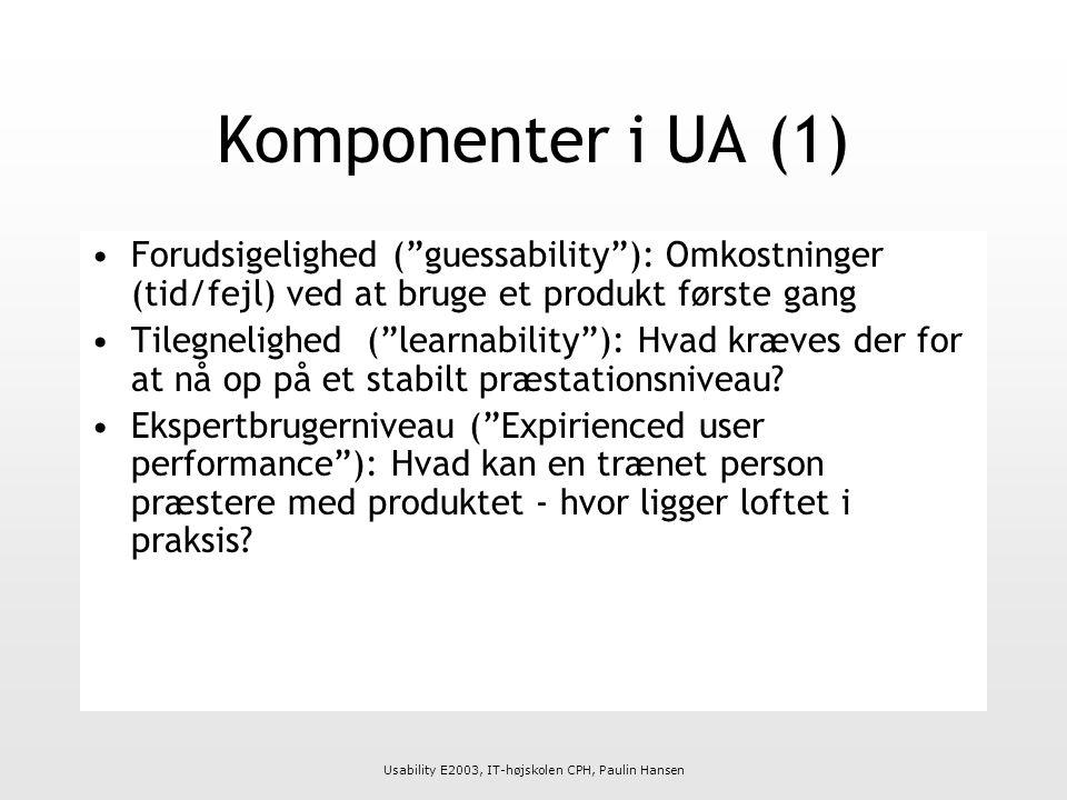 Usability E2003, IT-højskolen CPH, Paulin Hansen Komponenter i UA (1) Forudsigelighed ( guessability ): Omkostninger (tid/fejl) ved at bruge et produkt første gang Tilegnelighed ( learnability ): Hvad kræves der for at nå op på et stabilt præstationsniveau.
