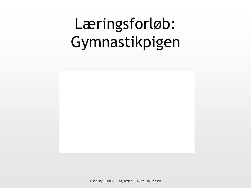 Usability E2003, IT-højskolen CPH, Paulin Hansen Læringsforløb: Gymnastikpigen