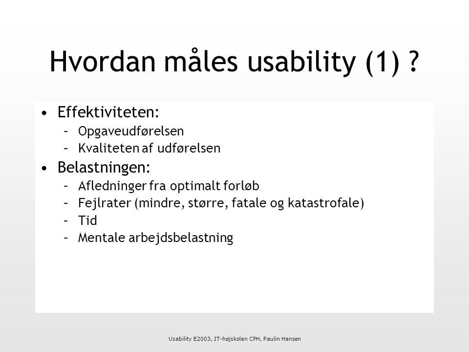 Usability E2003, IT-højskolen CPH, Paulin Hansen Hvordan måles usability (1) .