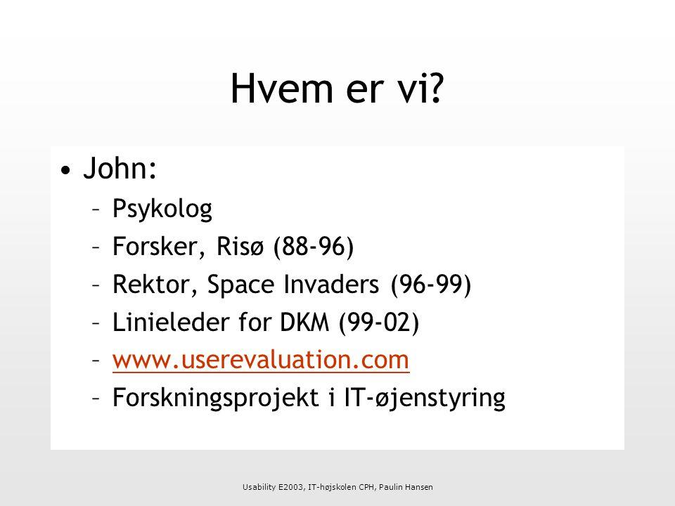 Usability E2003, IT-højskolen CPH, Paulin Hansen Hvem er vi.