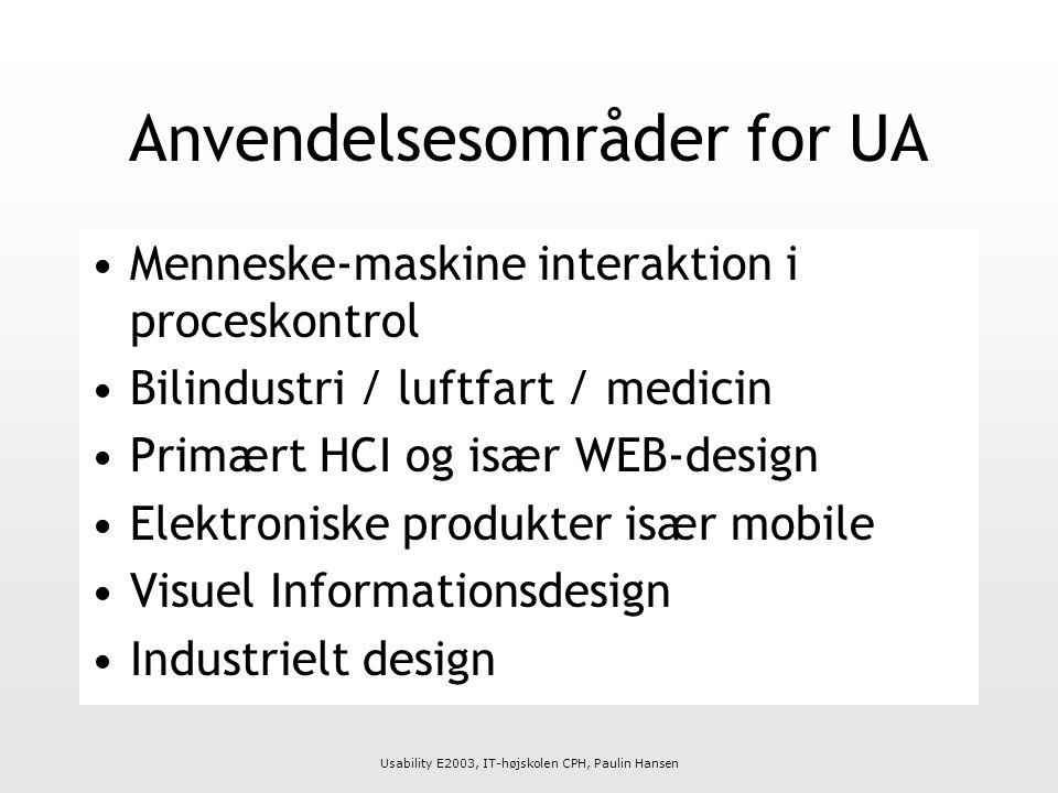 Usability E2003, IT-højskolen CPH, Paulin Hansen Anvendelsesområder for UA Menneske-maskine interaktion i proceskontrol Bilindustri / luftfart / medicin Primært HCI og især WEB-design Elektroniske produkter især mobile Visuel Informationsdesign Industrielt design