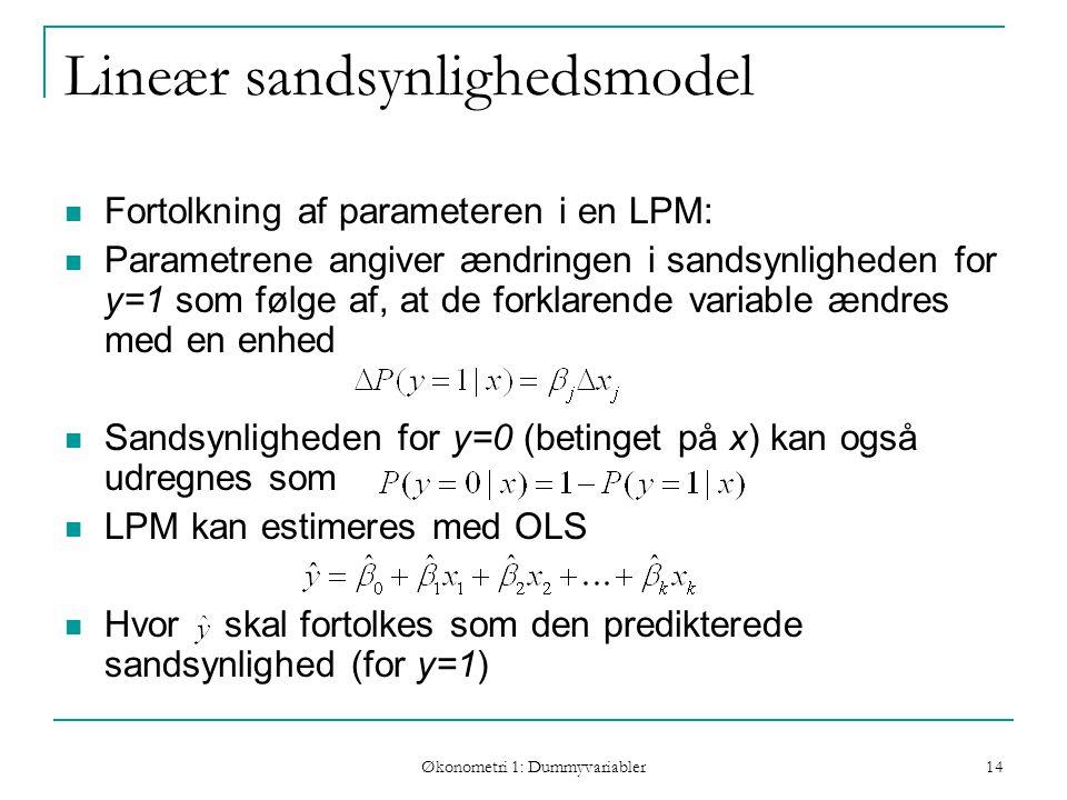 Økonometri 1: Dummyvariabler 14 Lineær sandsynlighedsmodel Fortolkning af parameteren i en LPM: Parametrene angiver ændringen i sandsynligheden for y=1 som følge af, at de forklarende variable ændres med en enhed Sandsynligheden for y=0 (betinget på x) kan også udregnes som LPM kan estimeres med OLS Hvor skal fortolkes som den predikterede sandsynlighed (for y=1)