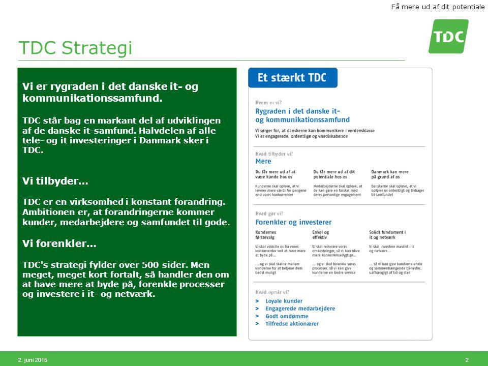 2. juni 2015 2 TDC Strategi Vi er rygraden i det danske it- og kommunikationssamfund.