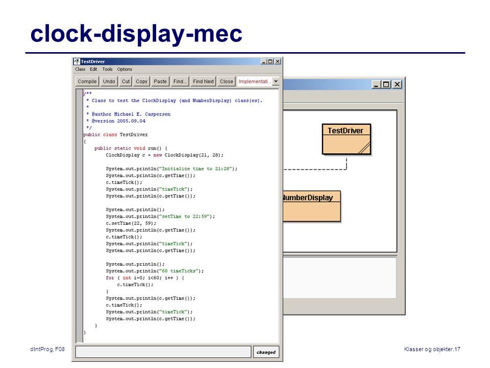 dIntProg, F08Klasser og objekter.17 clock-display-mec