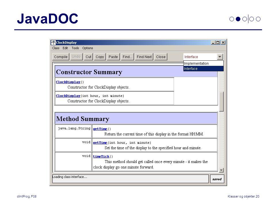 dIntProg, F08Klasser og objekter.20 JavaDOC