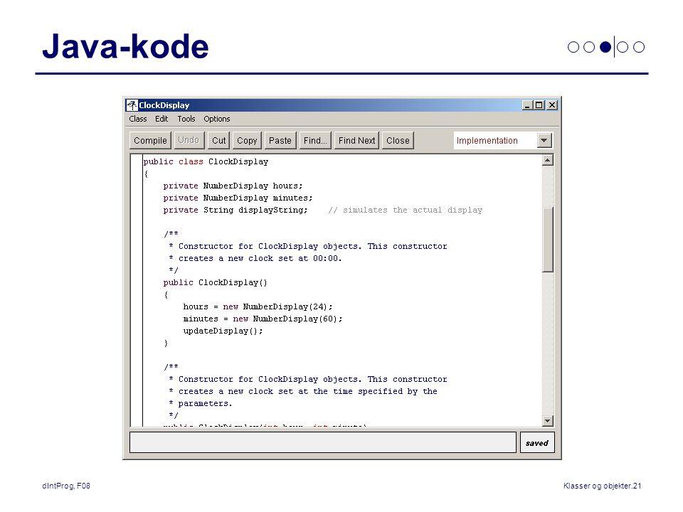 dIntProg, F08Klasser og objekter.21 Java-kode