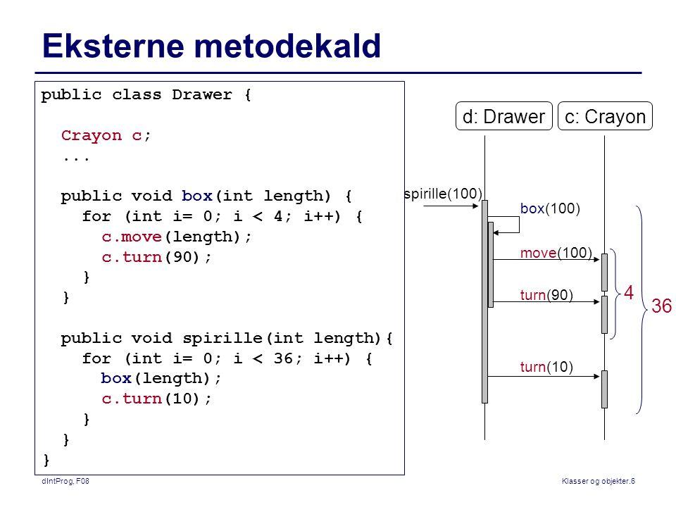 dIntProg, F08Klasser og objekter.6 Eksterne metodekald public class Drawer { Crayon c;...