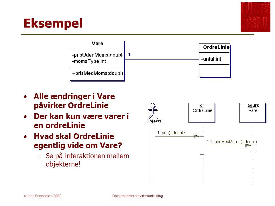  Jens Bennedsen 2002Objektorienteret systemudvikling Eksempel Alle ændringer i Vare påvirker OrdreLinie Der kan kun være varer i en ordreLinie Hvad skal OrdreLinie egentlig vide om Vare.