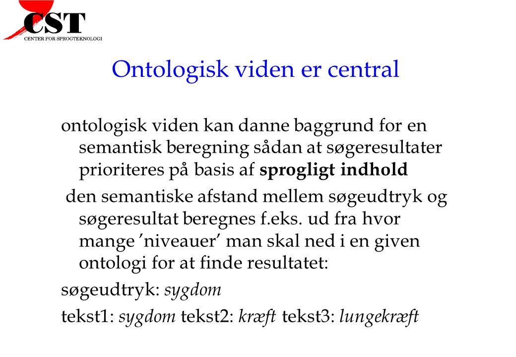 Ontologisk viden er central ontologisk viden kan danne baggrund for en semantisk beregning sådan at søgeresultater prioriteres på basis af sprogligt indhold den semantiske afstand mellem søgeudtryk og søgeresultat beregnes f.eks.