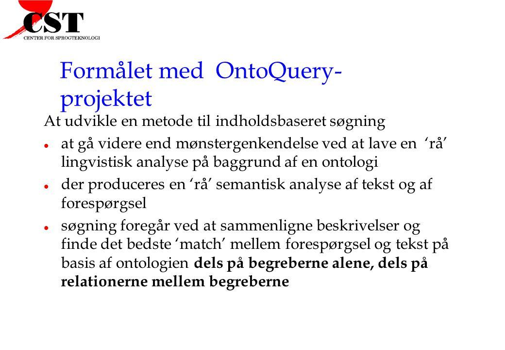 Formålet med OntoQuery- projektet At udvikle en metode til indholdsbaseret søgning l at gå videre end mønstergenkendelse ved at lave en 'rå' lingvistisk analyse på baggrund af en ontologi l der produceres en 'rå' semantisk analyse af tekst og af forespørgsel l søgning foregår ved at sammenligne beskrivelser og finde det bedste 'match' mellem forespørgsel og tekst på basis af ontologien dels på begreberne alene, dels på relationerne mellem begreberne