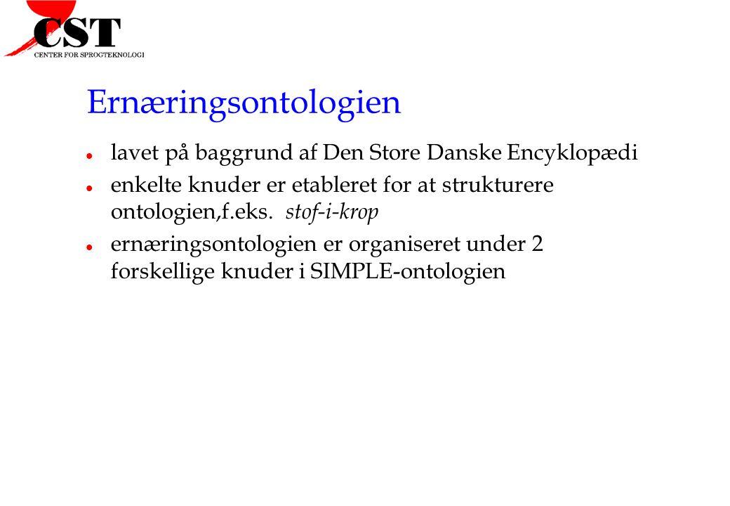 Ernæringsontologien l lavet på baggrund af Den Store Danske Encyklopædi l enkelte knuder er etableret for at strukturere ontologien,f.eks.