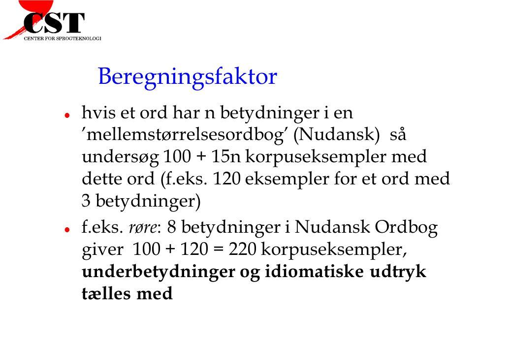 Beregningsfaktor l hvis et ord har n betydninger i en 'mellemstørrelsesordbog' (Nudansk) så undersøg 100 + 15n korpuseksempler med dette ord (f.eks.
