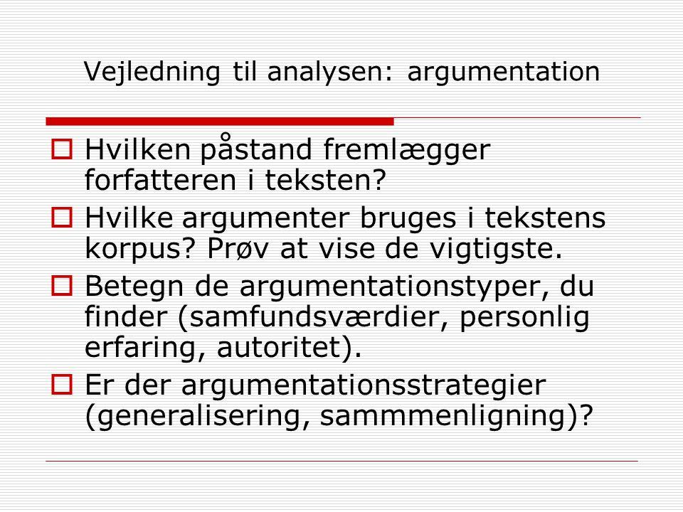 Vejledning til analysen: argumentation  Hvilken påstand fremlægger forfatteren i teksten.
