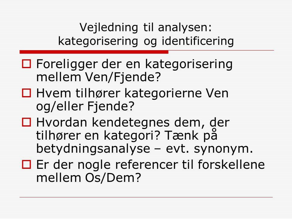 Vejledning til analysen: kategorisering og identificering  Foreligger der en kategorisering mellem Ven/Fjende.