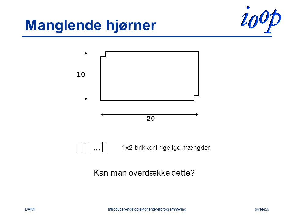 DAIMIIntroducerende objektorienteret programmeringsweep.9 Manglende hjørner...