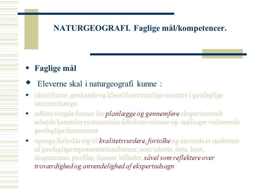 NATURGEOGRAFI. Faglige mål/kompetencer.