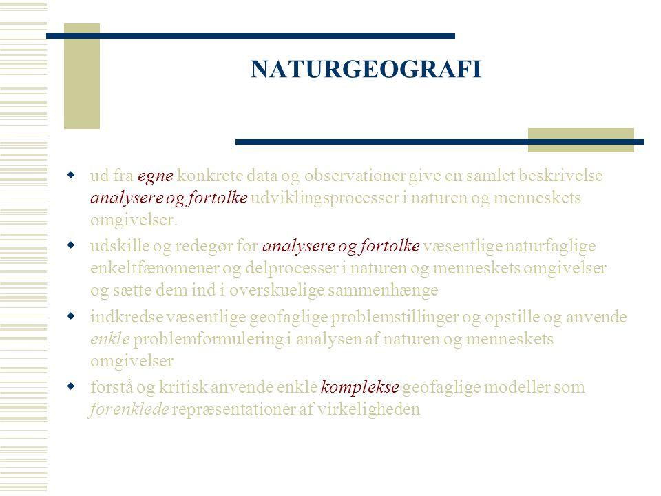 NATURGEOGRAFI  ud fra egne konkrete data og observationer give en samlet beskrivelse analysere og fortolke udviklingsprocesser i naturen og menneskets omgivelser.