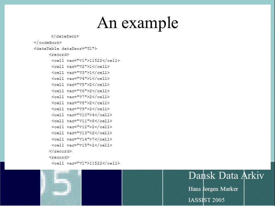 Dansk Data Arkiv Hans Jørgen Marker IASSIST 2005 An example 11522 1 2 4 8 2 7 2 11522
