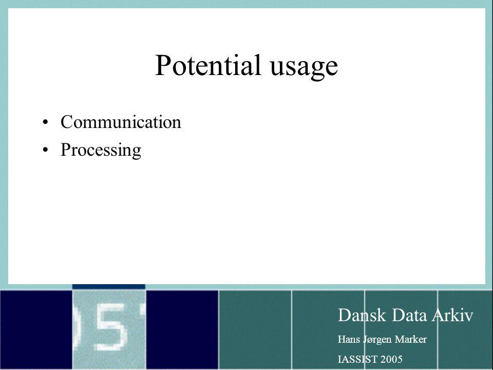 Dansk Data Arkiv Hans Jørgen Marker IASSIST 2005 Potential usage Communication Processing